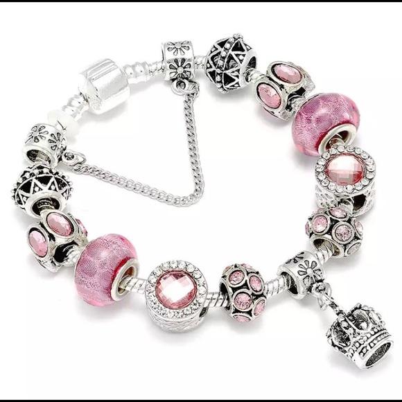 1ea47a05febe8 NEW European queen charm bracelet pink silver NWT